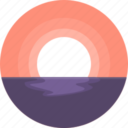 beach, landscape, ocean, summer, sunset, travel, vacation icon
