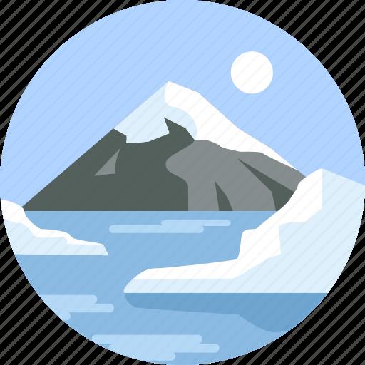 hills, landscape, mountain, ocean, summer, travel, vacation icon