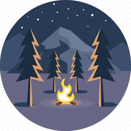 adventure, camp, fire, hills, night, summer, vacation icon