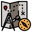 compass, map, navigation, travel icon