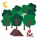 adventure, camping, nature, night, outdoor, tent icon