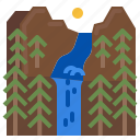 fall, landscape, river, water, waterfall icon