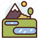 lake, nature, outdoor, travel icon