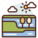 bed, nature, outdoor, river, travel icon