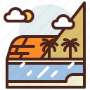 nature, outdoor, palm, river, travel icon
