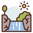 nature, outdoor, travel, waterfall icon