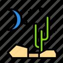 cactus, nature, night icon
