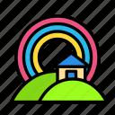 home, nature, rainbow icon