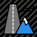 mountain, nature, road icon