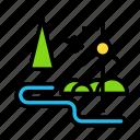 mill, nature, river, wind icon