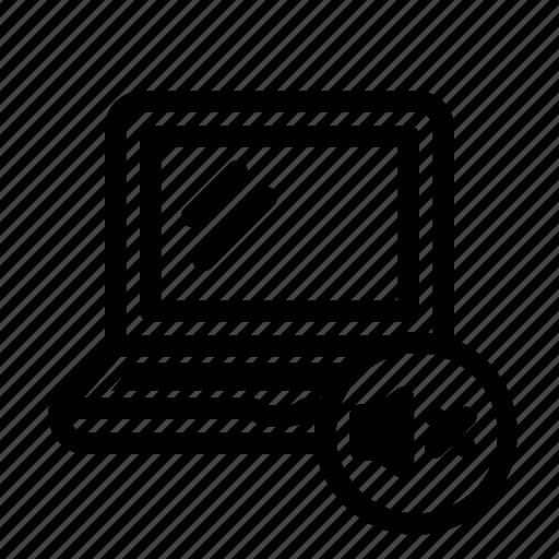 device, laptop, mute, silent, volume icon