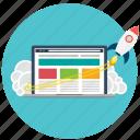business, laptop, launch, marketing, rocket, seo, startup icon