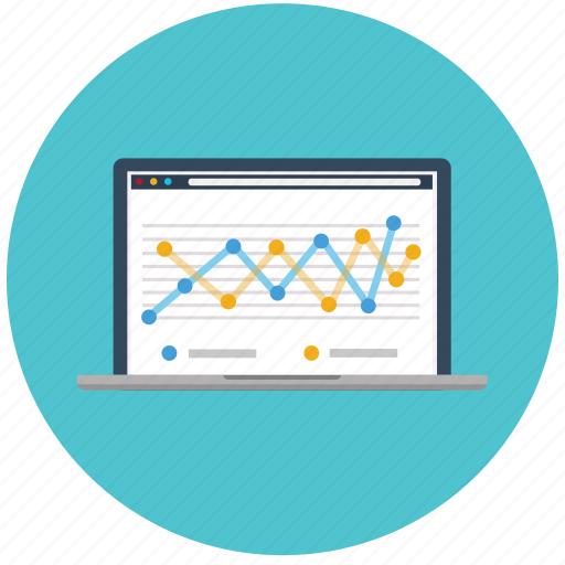 analytics, chart, graph, laptop, marketing, seo, web icon