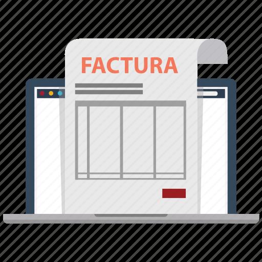 bill, document, factura, facturas, invoice, invoices, order icon