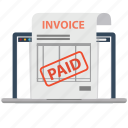 document, electronic invoice, invoice, invoices, laptop, paid, paids icon