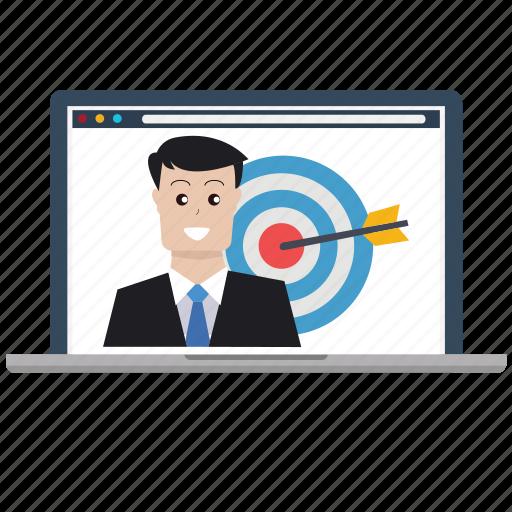 business, customer, laptop, market research, marketing, seo, tarketing icon
