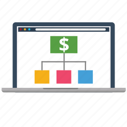 analytics, business, diagram, dollar, laptop, marketing, seo icon