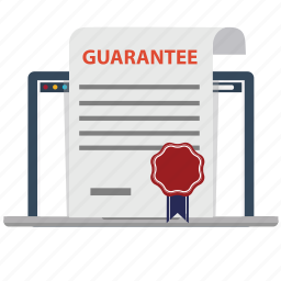 business, contract, guarantee, laptop, marketing, satisfation, warranty icon