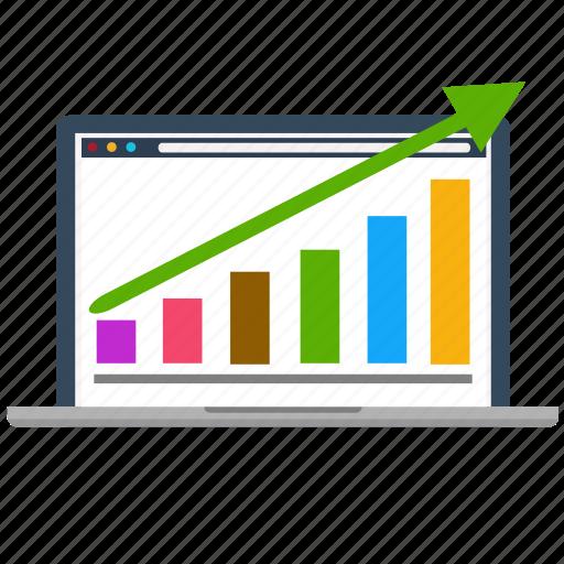 business, diagram, growth, laptop, marketing, seo, success icon