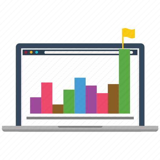 analytics, chart, diagram, flag, marketing, success, web icon