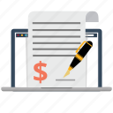 business, contract, document, dollar, laptop, legal, network icon
