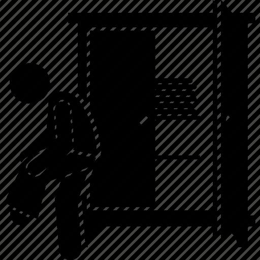 closet, cupboard, pant, person, trouser, wardrobe, wearing icon