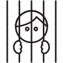 bars, captive, inmate, law, man, prisoner icon