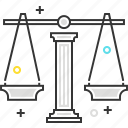 court, law, scale, trial icon