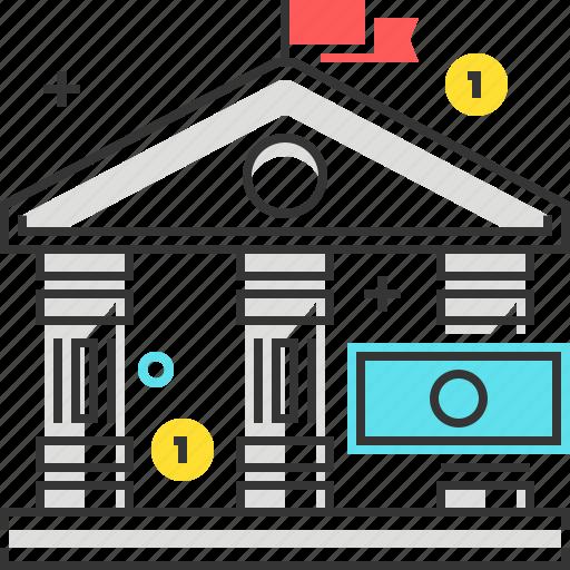 bank, banking, gavel, law, legal, money icon