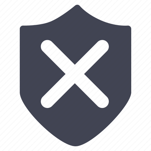 cancel, crime, law, security, shield icon