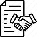 business agreement, contract law, law of contract, legal document, offer and acceptance notes icon