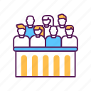court, jury, justice, law, lawsuit, people, trial icon