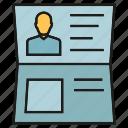 card, id, identification, passport, profile icon