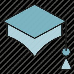 education, graduation cap, student icon