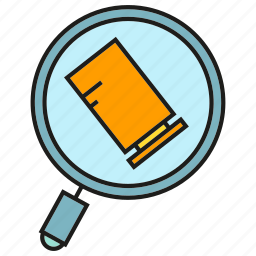ammunition, bullet, evidence, examine, investigate, magnifier icon
