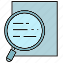 document, examine, investigate, magnifier, scan, verify icon