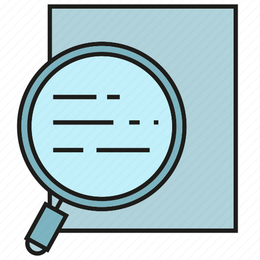 document, examine, investigate, magnifier, scan, verify icon