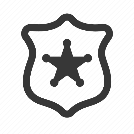 crime, government, justice, law, police badge, raw, simple icon