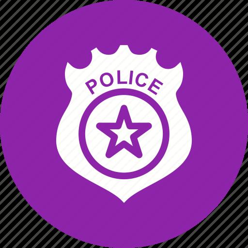 badge, emblem, enforcement, gold, law, police, sign icon