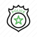 badge, emblem, enforcement, gold, law, police, sign icon