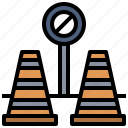 cone, post, signaling, urban icon