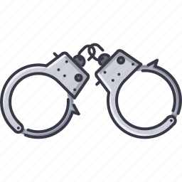 court, handcuffs, jurisprudence, law, police icon