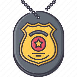 badge, chain, court, jurisprudence, law, police icon