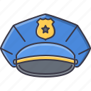 cap, court, jurisprudence, law, police, policeman icon