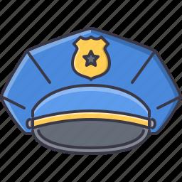 cap, court, jurisprudence, law, police, policeman icon