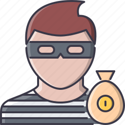 bag, court, jurisprudence, law, money, police, thief icon