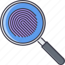 court, fingerprint, jurisprudence, law, magnifier, police, search icon