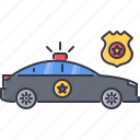 car, court, flasher, jurisprudence, law, police icon