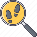 court, footprint, jurisprudence, law, magnifier, police, search icon