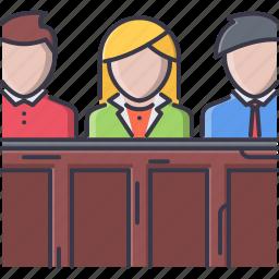 court, jurisprudence, jury, law, police icon